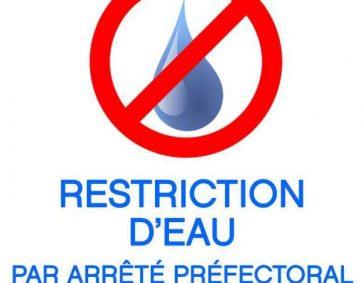 Nouvelle restriction eau par arrêté préfectoral du 03 Octobre 2018