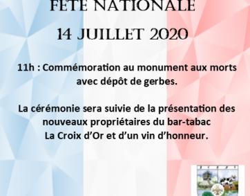 Programme 14 Juillet 2020