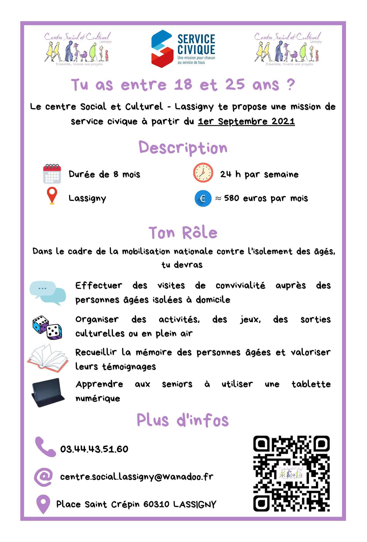 Service civique Centre Social et Culturel - Lassigny